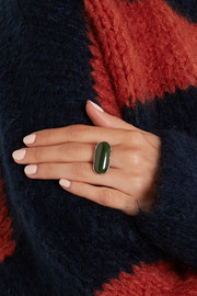 Bottega Veneta Oxidized silver jade ring