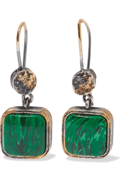 Bottega Veneta - Oxidized Silver Malachite Earrings