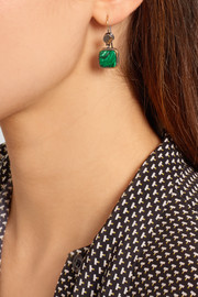 Bottega Veneta Oxidized silver malachite earrings