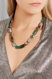 Bottega Veneta Oxidized silver multi-stone necklace