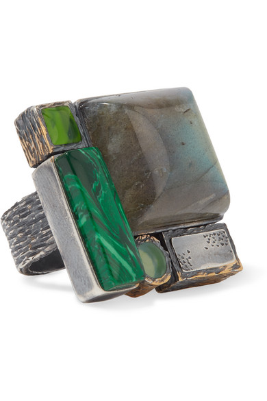 Bottega Veneta - Oxidized Silver Multi-stone Ring