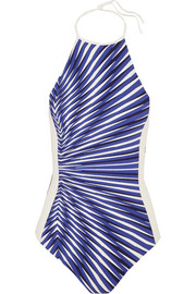 Op-Art printed halterneck swimsuit