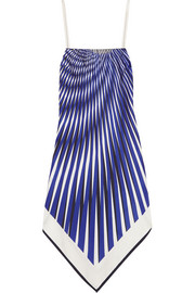 Op-Art printed satin-twill dress