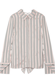 Draped striped silk-twill blouse