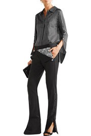 Embellished stretch wool-blend twill flared pants