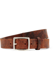 Boyfriend distressed textured-leather belt