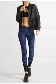 Mesh-paneled camouflage-print stretch-jersey leggings