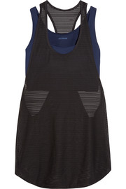 Layered ribbed mesh and stretch-jersey tank