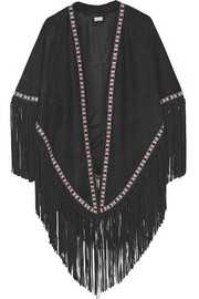 Fringed embroidered suede cape