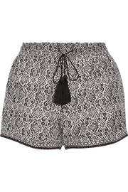 Printed silk and cotton-blend shorts