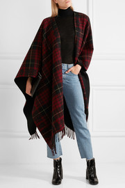 Reversible fringed tartan wool wrap