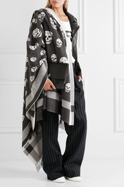 Fringed intarsia wool and cashmere-blend scarf