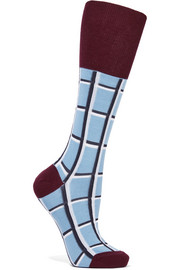 Checked cotton-blend socks