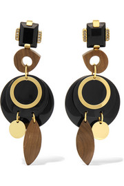 Gold-tone, Perspex, wood and horn clip earrings