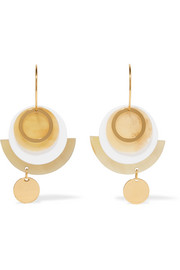 Gold-tone, acrylic and horn earrings