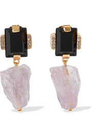 Amethyst, horn and crystal gold-tone clip earrings