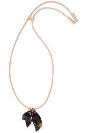 Marni Crystal, horn and leather necklace