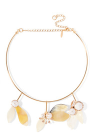 Gold-plated, crystal and horn necklace