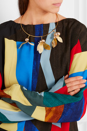 Marni Gold-plated, crystal and horn necklace