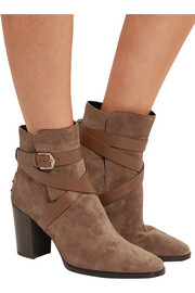 Tod's Leather-trimmed suede ankle boots