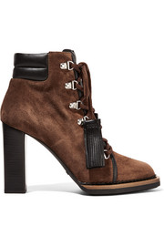 Lace-up leather-trimmed suede ankle boots
