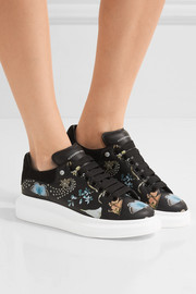 Alexander McQueen Suede-trimmed printed leather sneakers