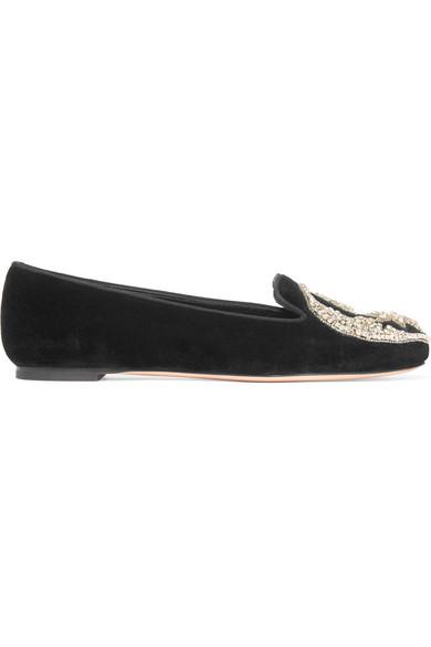 91b9f34b47f73 Alexander McQueen | Embellished velvet slippers | NET-A-PORTER.COM