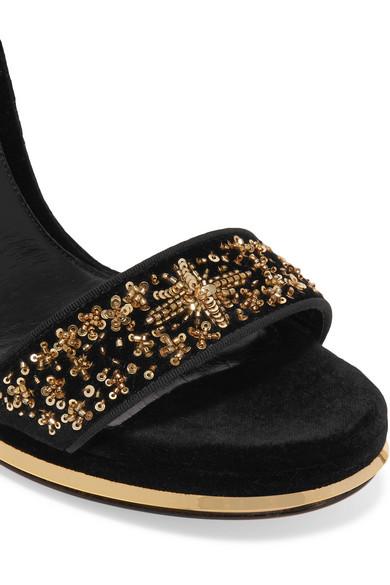 ALEXANDER MCQUEEN Velvets Embellished velvet platform sandals