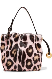 Leopard-print goat hair tote