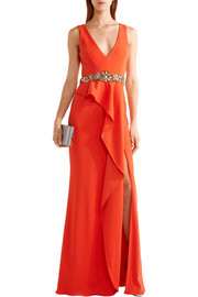 Ruffled embellished crepe gown