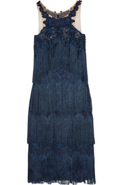 Marchesa Notte Fringed appliquéd guipure lace dress
