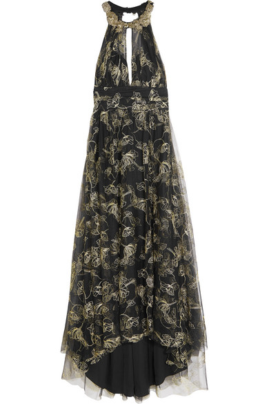Marchesa Notte - Embroidered Beaded Metallic Tulle Gown - Black