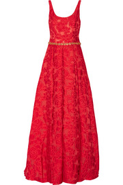 Crystal-embellished brocade gown