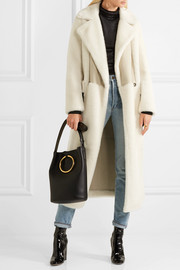 Leather-paneled shearling coat