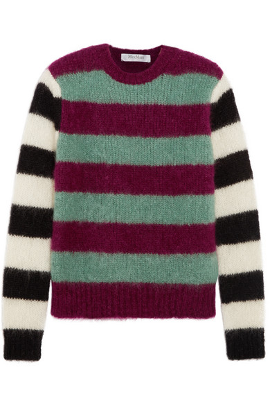 Max Mara - Striped Mohair-blend Sweater - Plum
