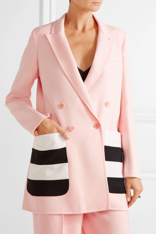 Max Mara Striped wool and angora-blend felt blazer