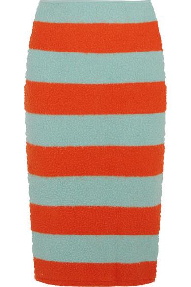 Max Mara - Striped Slub Stretch Wool-blend Pencil Skirt - Bright orange