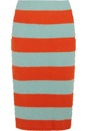 Striped slub stretch wool-blend pencil skirt