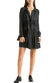 Maiyet Lace-appliquéd printed silk crepe de chine mini dress