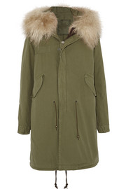 Shearling-trimmed cotton-canvas parka