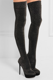 Charlotte Olympia More Is More metallic jersey over-the-knee boots