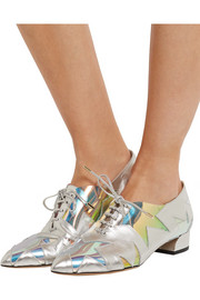 Charlotte Olympia Starman PVC-trimmed metallic leather brogues