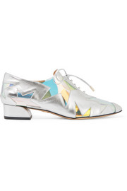 Starman PVC-trimmed metallic leather brogues