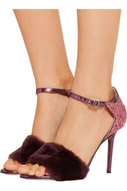 Charlotte Olympia Capella shearling and glittered metallic leather sandals