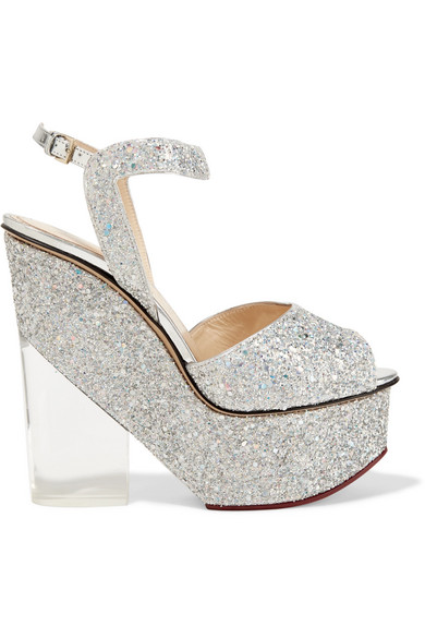 charlotte olympia female 45900 charlotte olympia leandra glittered leather and perspex wedge sandals silver