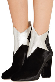 Charlotte Olympia Galactica metallic leather and velvet ankle boots