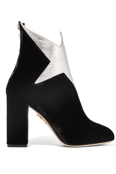 WOMAN GALACTICA METALLIC LEATHER AND VELVET ANKLE BOOTS BLACK
