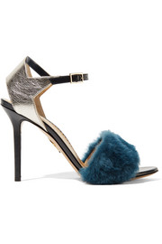 Charlotte Olympia Capella shearling and metallic textured-leather sandals