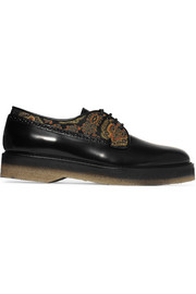 Jacquard-paneled leather brogues