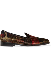 Leather-trimmed printed velvet slippers